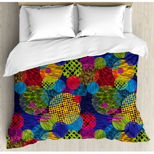 East Urban Home Funky Grunge Stylized Murky Sketchy Geometric Forms with Hand Drawn Lines Image Artwork Duvet Set