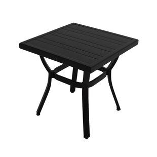 Whittington Square Embossed Wood Grain Slats Aluminum Side Table