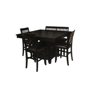 Dabrowski 5 Piece Counter Height Solid Wood Dining Set