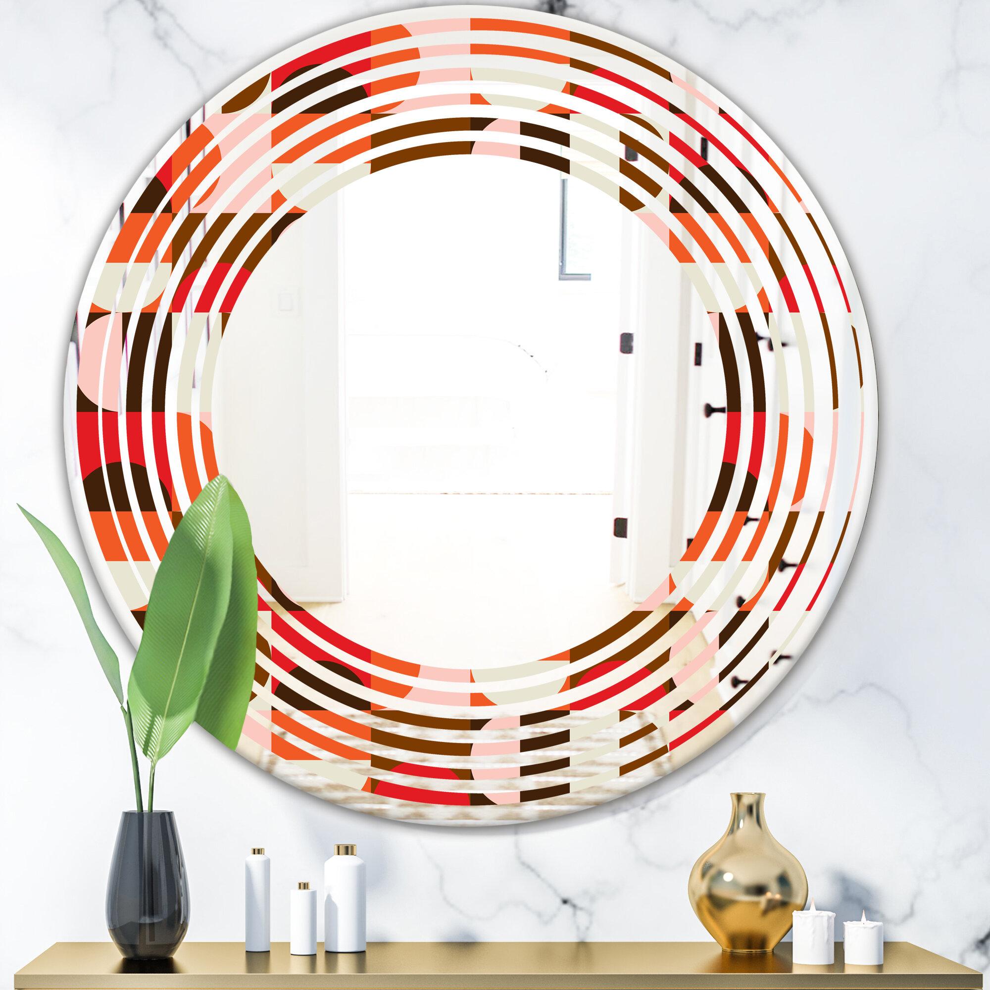 East Urban Home Wave Geometric Design Ii Modern Frameless Wall Mirror Wayfair