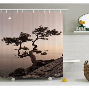Tree Moon Cliff Sea Mountain Shower Curtain Set