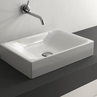 WS Bath Collections Cento Ceramic Ceramic Rectangular Vessel Bathroom Sink