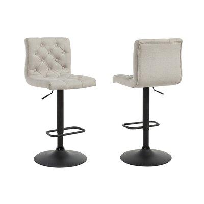 Ebern Designs Witney Adjustable Height Swivel Bar Stool Upholstery: Beige