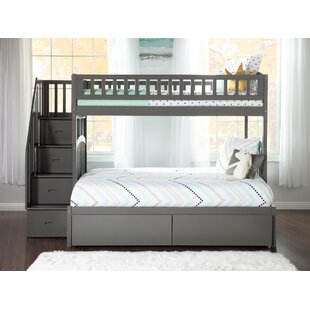Best Simmons Staircase Bunk Twin over Full Bed With Drawers ByHarriet Bee