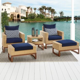 Bayou Breeze Addison 5 Piece Sunbrella Conversation Set with Cushions