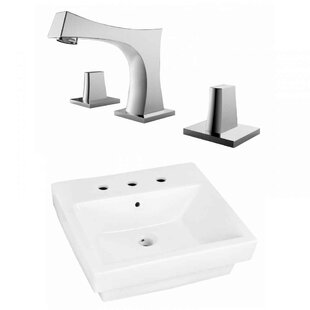 Reviews Ceramic Rectangular Bathroom Sink with Faucet and Overflow By American Imaginations