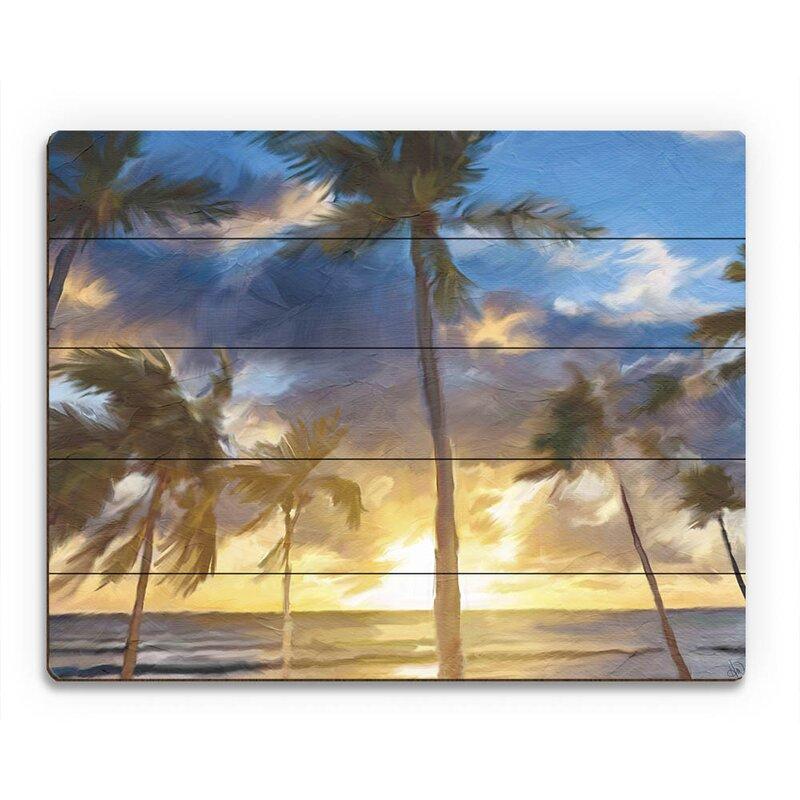 Click Wall Art Sunset Beach Painting Print On Wood Wayfair