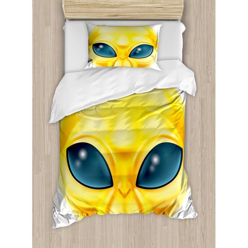 Ambesonne Emoji Alien Smiley Face With Big Eyes Duvet Set