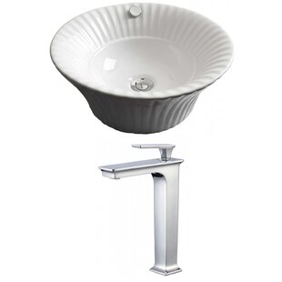 Find a Ceramic Circular Vessel Bathroom Sink with Faucet and Overflow By American Imaginations