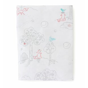 The Little Acorn Fox and The Finch Toile 200 Thread Count 100% Cotton Fitted Sheet