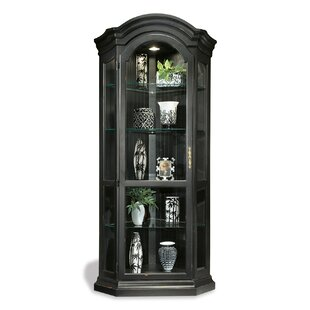 Shelia Solid Poplar Lighted Corner Curio Cabinet