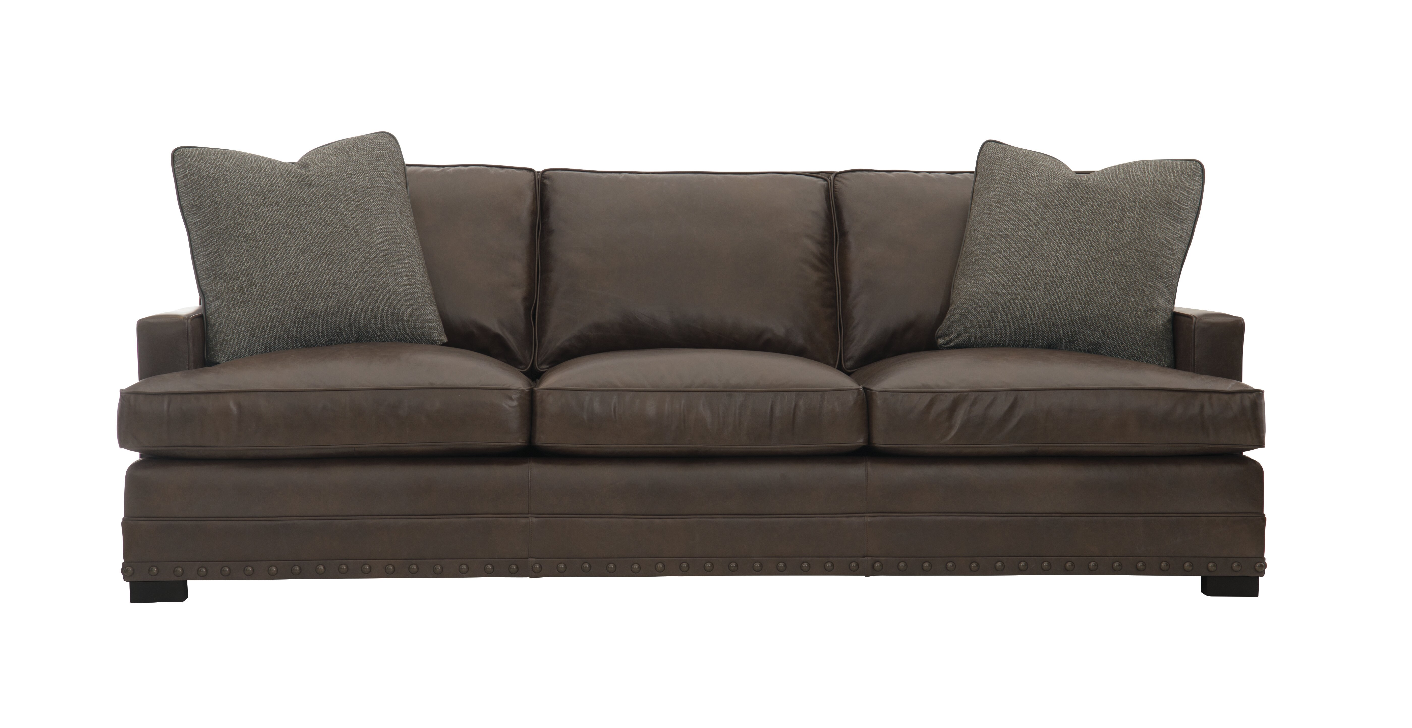 Bernhardt Cantor Genuine Leather 94 Recessed Arm Sofa Wayfair