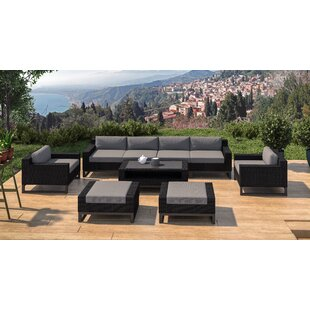 Ebern Designs Stivers 9 Rattan Piece Sectional Seating Group with Cushions