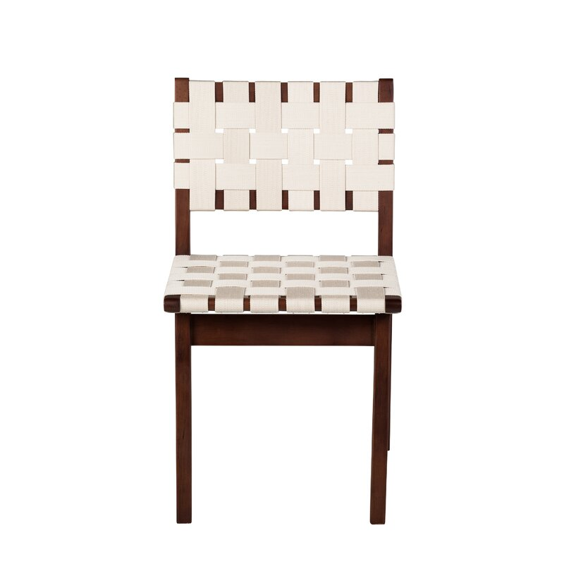 Woven Solid Manufactured Wood Solid Wood Side Chair in Beige