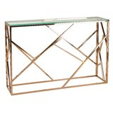 Bellegarde Contemporary Glass Console Table by Rosdorf Park