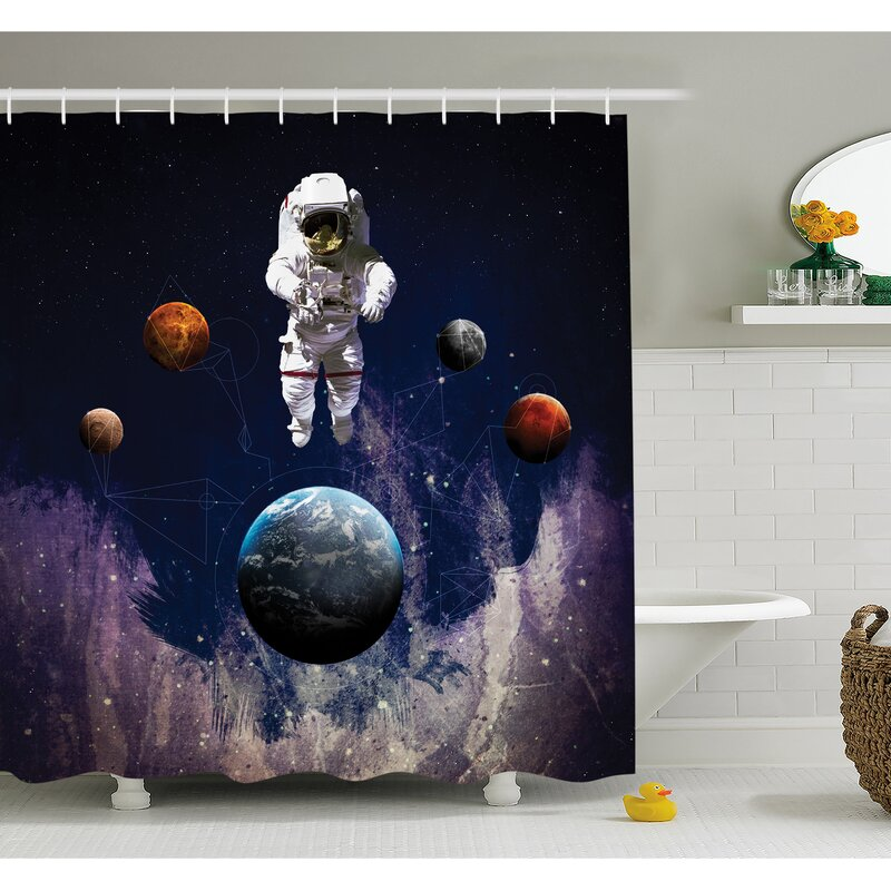 Ambesonne Outer Space Astronaut With Planets Globe Satellite Energy Eternity Theme Shower Curtain Set