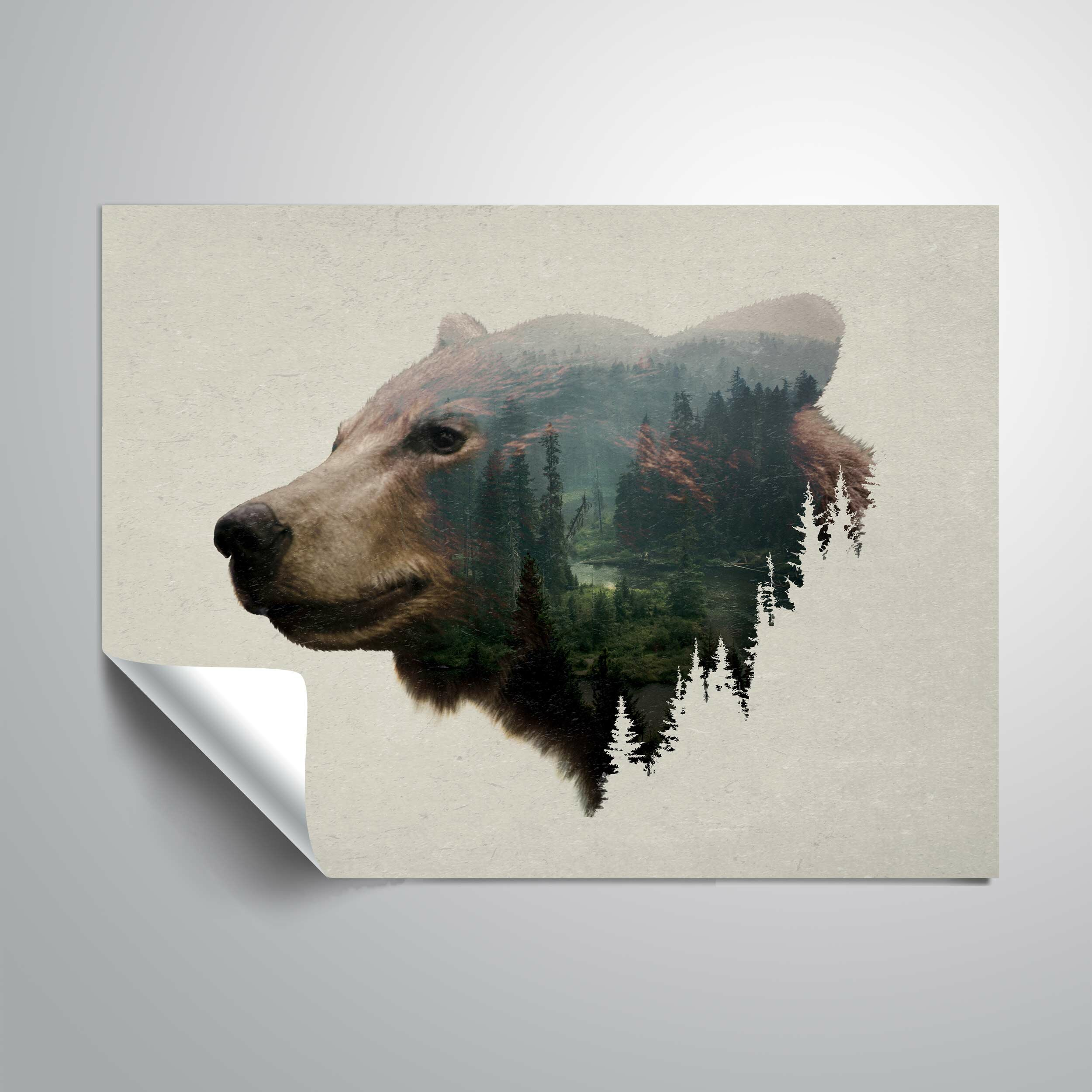 RoomMates Watercolor Mountain Bear Peel And Stick Giant Wall Decal