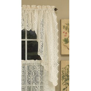 Old World Style Floral Heavy Lace Kitchen Curtain Set Of 2