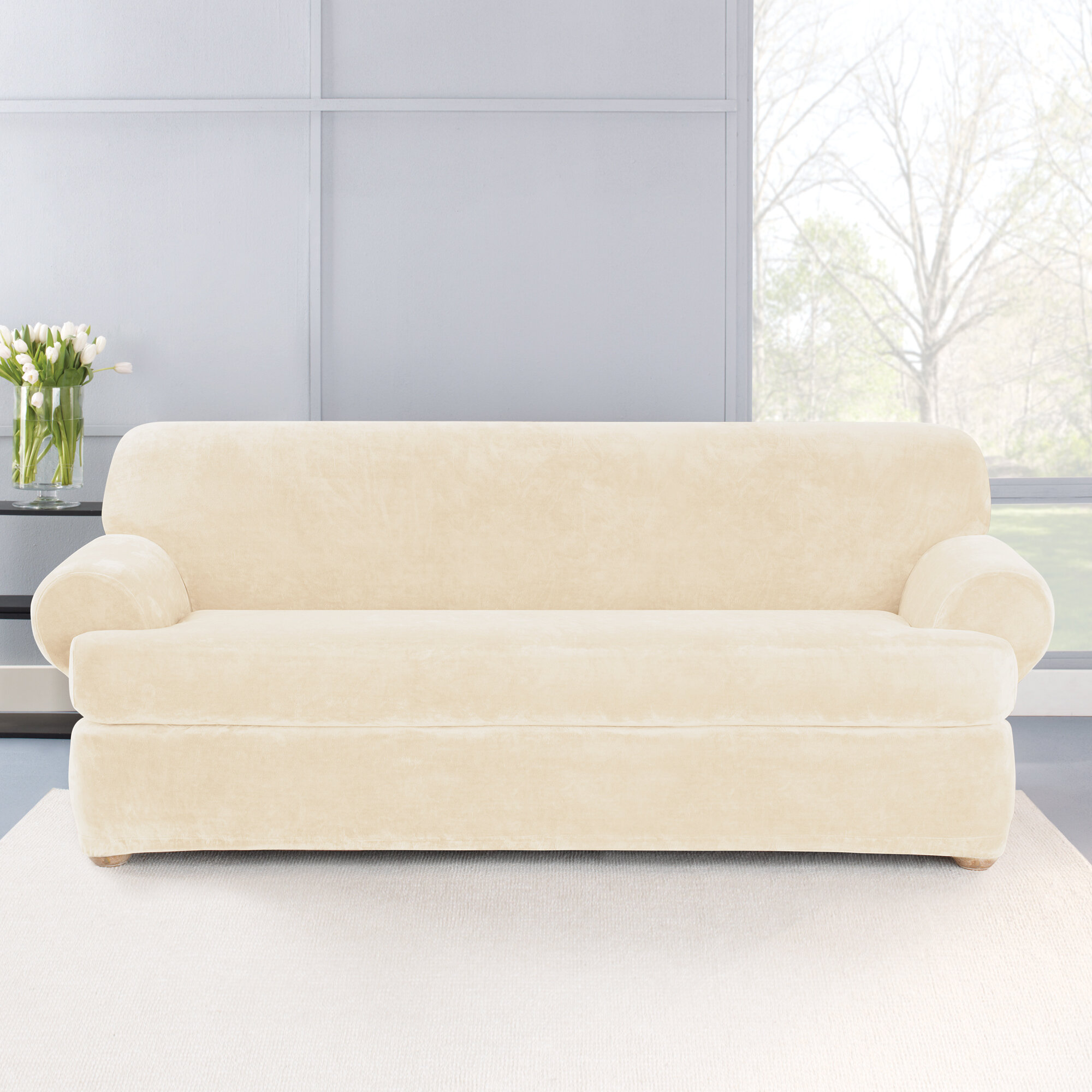 Stretch Plush 2 Piece T-Cushion Sofa Slipcover Set