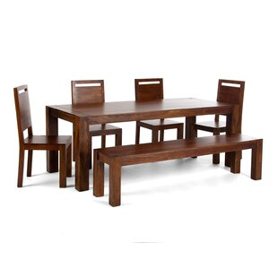 Monrovia Dining Set with 4 Chairs and 1 Bench by Massivum