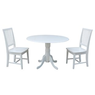 Pine Tree 3 Piece Drop Leaf Solid Wood Dining Set Loon Peak