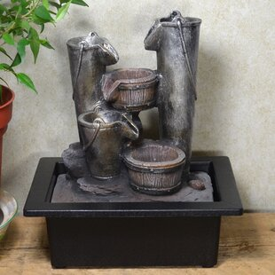 Trevion Resin Bucket Cascade Fountain With LED Light By August Grove