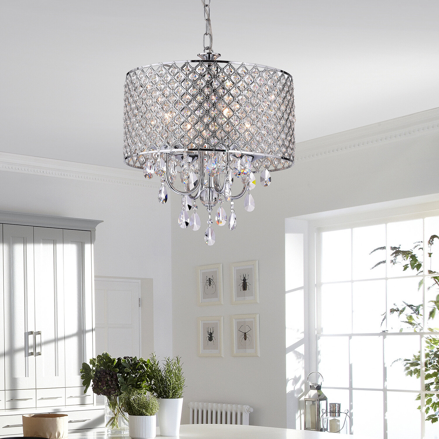 House of hampton von 4 light crystal chandelier reviews wayfair