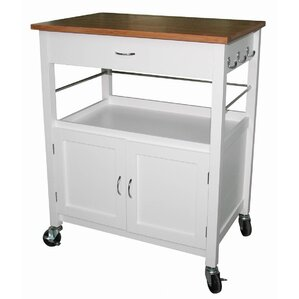 Guss Kitchen Island Cart with Natural Butcher Block Bamboo Top by Andover Mills