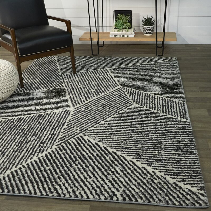 Foundry Select Nickelsville Striped Black Beige Area Rug Reviews Wayfair