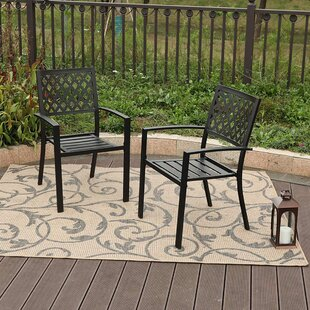 Dodgeville Wrought Iron Stacking Patio Dining Chair (Set of 2)