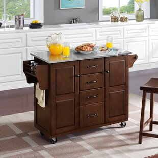Iyana Kitchen Cart with Stainless Steel Top by Charlton Home