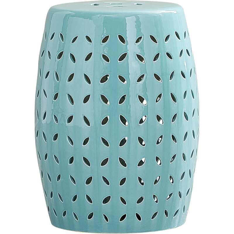Turquoise Bartow Petal Accent Stool. Come find Beachy Turquoise Decor Inspiration to float your boat! #turquoise #decorinspiration #beachyblue #gardenstool