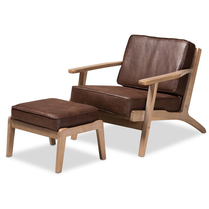 Padron Mid-Century Modern Dark Brown Faux Leather Effect Fabric Upholstered  Antique Oak Finished 2-Piece Wood Armchair And Ottoman Set