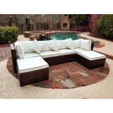 Burruss Wicker/Rattan 6 - Person Seating Group with Cushions