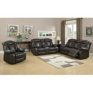 Abhinav Reclining Leather 3 Piece Living Room Set