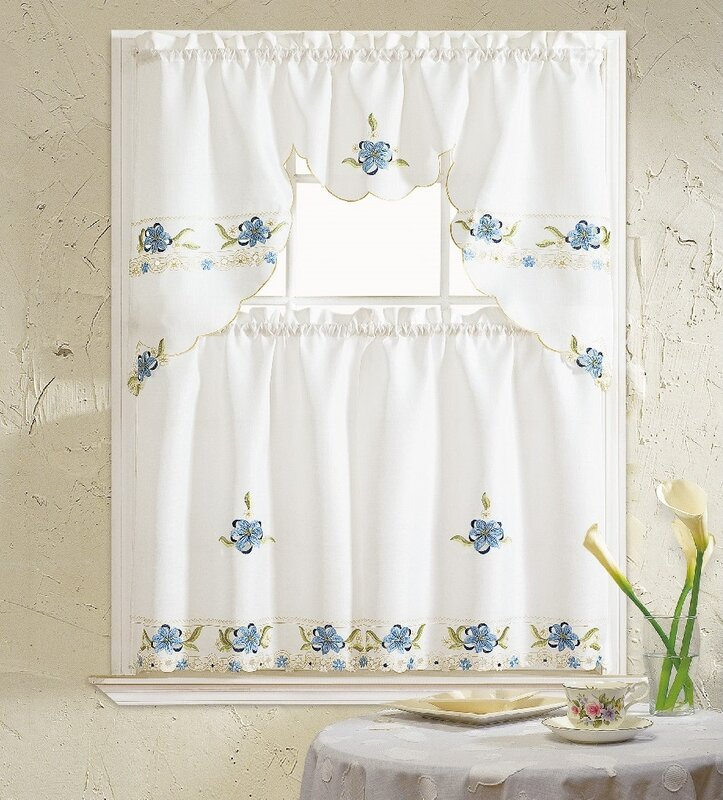 August Grove Polsky 3 Piece Kitchen Curtain Set & Reviews
