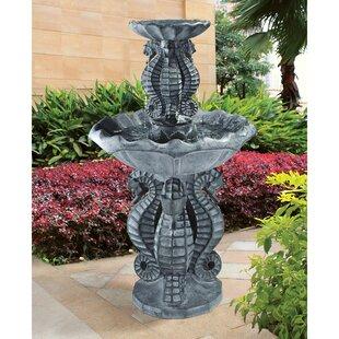 Wildon Home ® Resin Spirit of the Ocean Seahorse Tiered Fountain