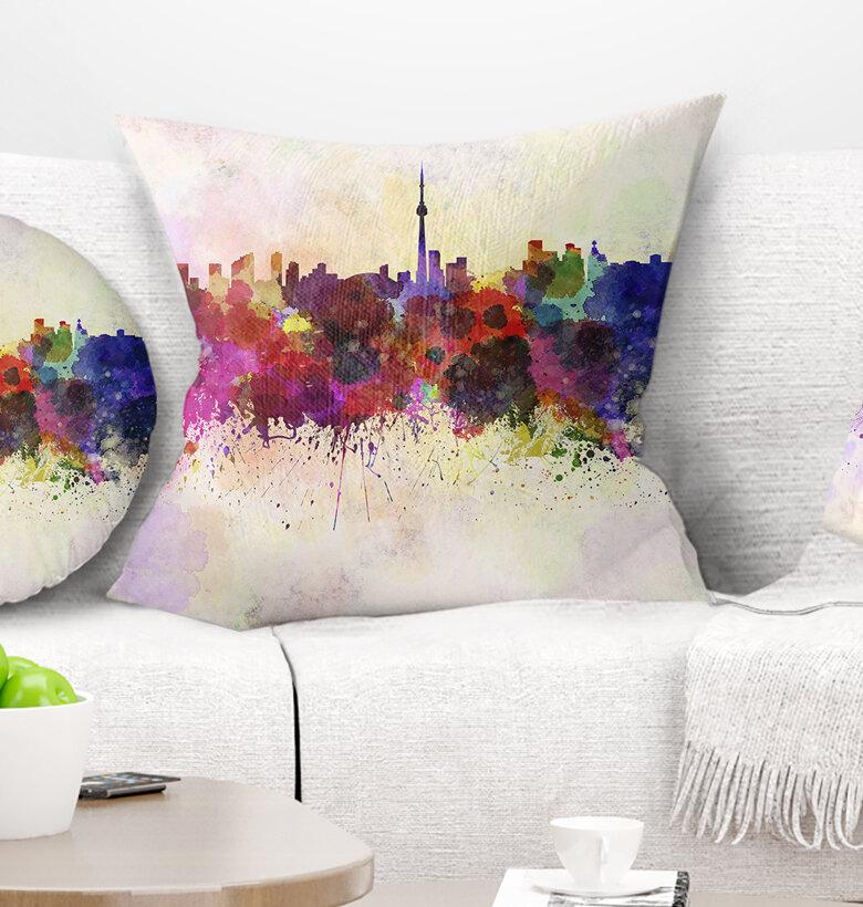 East Urban Home Cityscape Toronto Skyline Pillow Wayfair