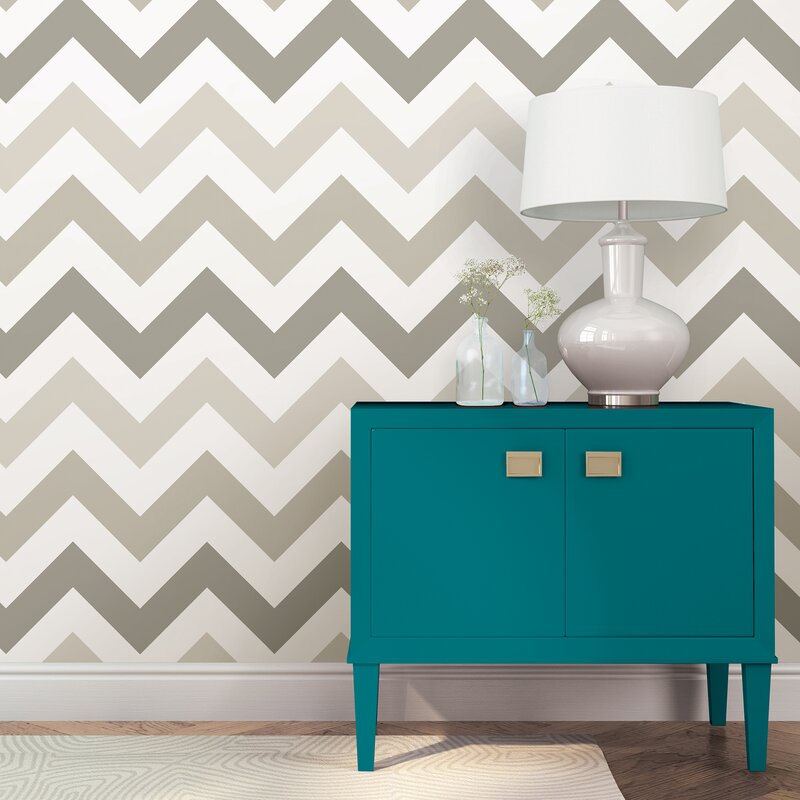 Wallpops Taupe Zig Zag Wallpaper Roll Reviews Wayfairca