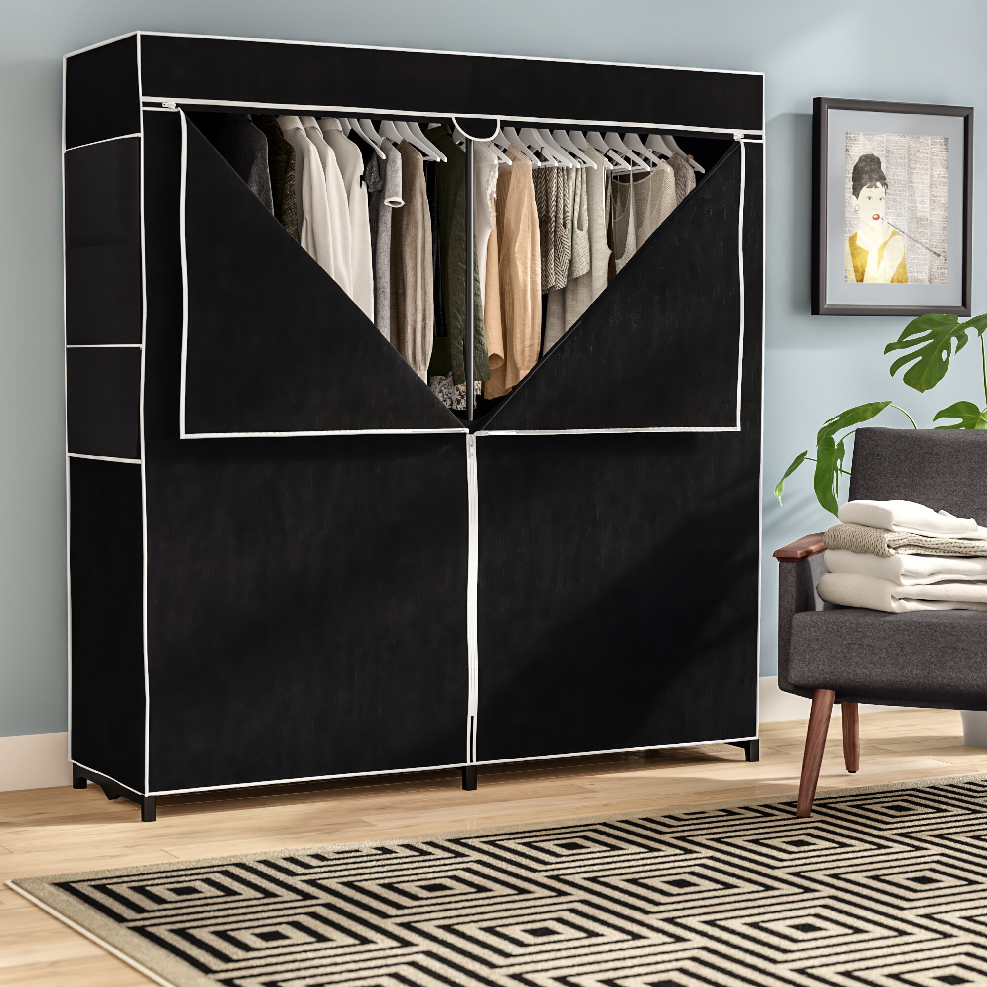 heavy storage photo organizer duty closet wardrobe of clothes portable x charming clothing rack