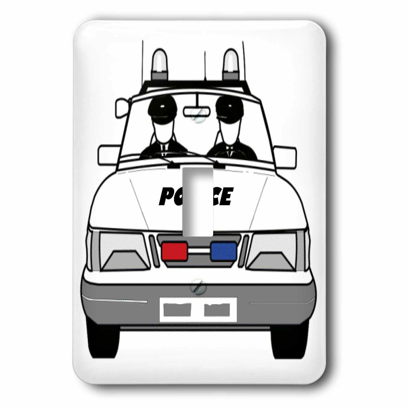 3drose Police Car With Policemen 1 Gang Toggle Light Switch Wall Plate Wayfair