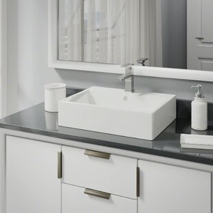 Check Prices Vitreous China Rectangular Vessel Bathroom Sink with Faucet and Overflow ByRené By Elkay