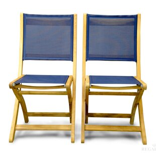 Prescott Folding Teak Patio Dining Chair (Set of 2)