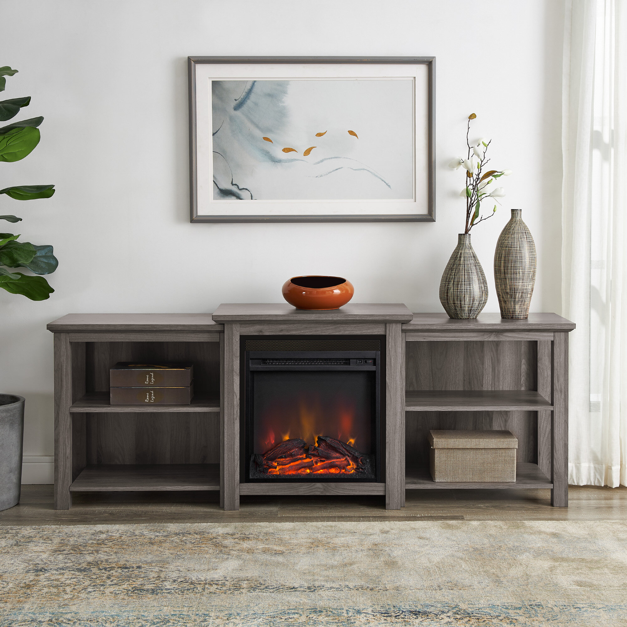 Millwood Pines Woodbury Tv Stand For Tvs Up To 70 With Electric Fireplace Included Reviews Wayfair Ca