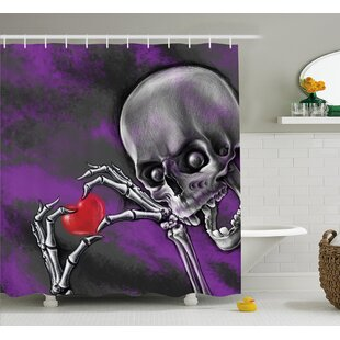 Skull Spooky Scary Skeleton Holds Eternal Love Sybol Heart Single Shower Curtain