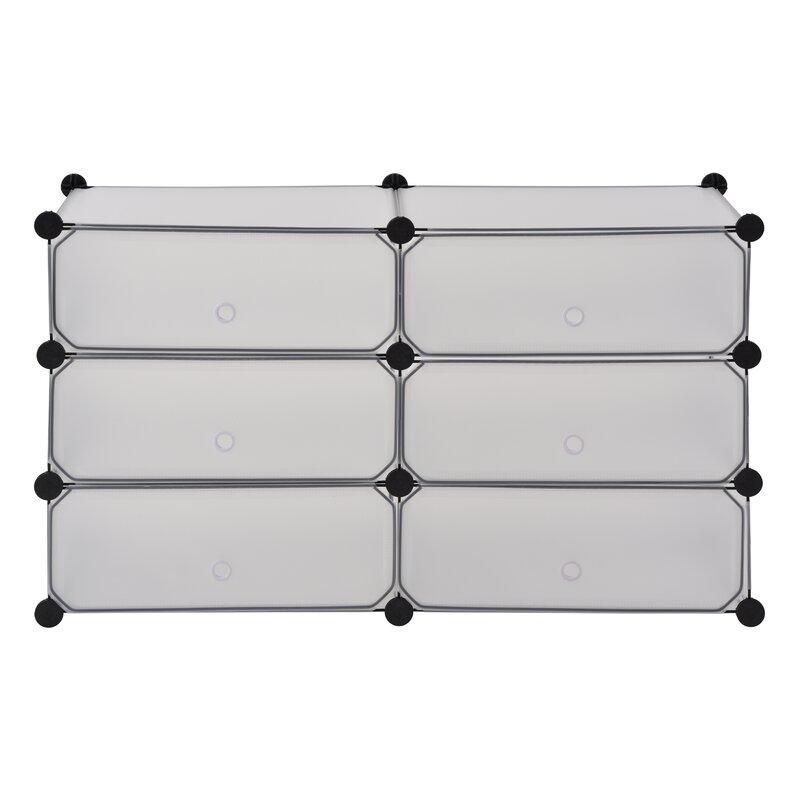 Superbe Modular Cube Storage 12 Pair Stackable Shoe Rack