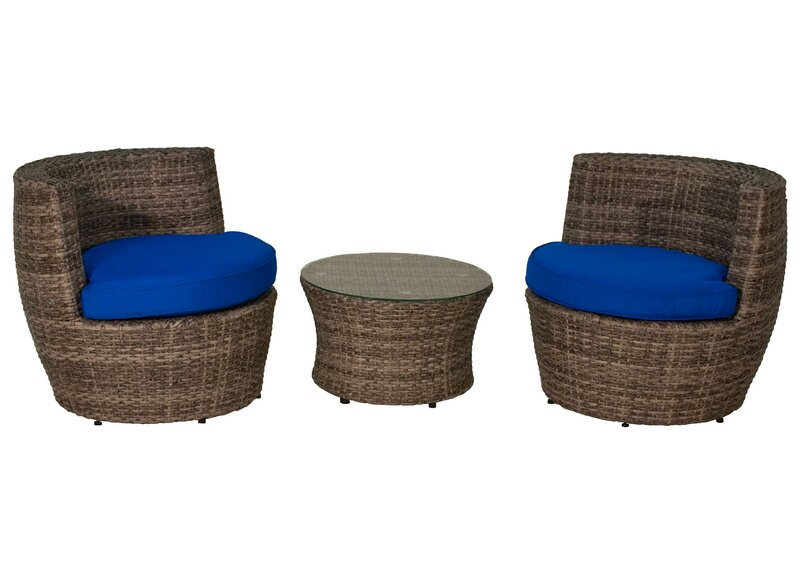 3 Piece Rattan Sunbrella Conversation Set With Cushions