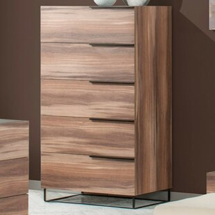Brayden Studio Daughtery Walnut 5 Drawer Chest