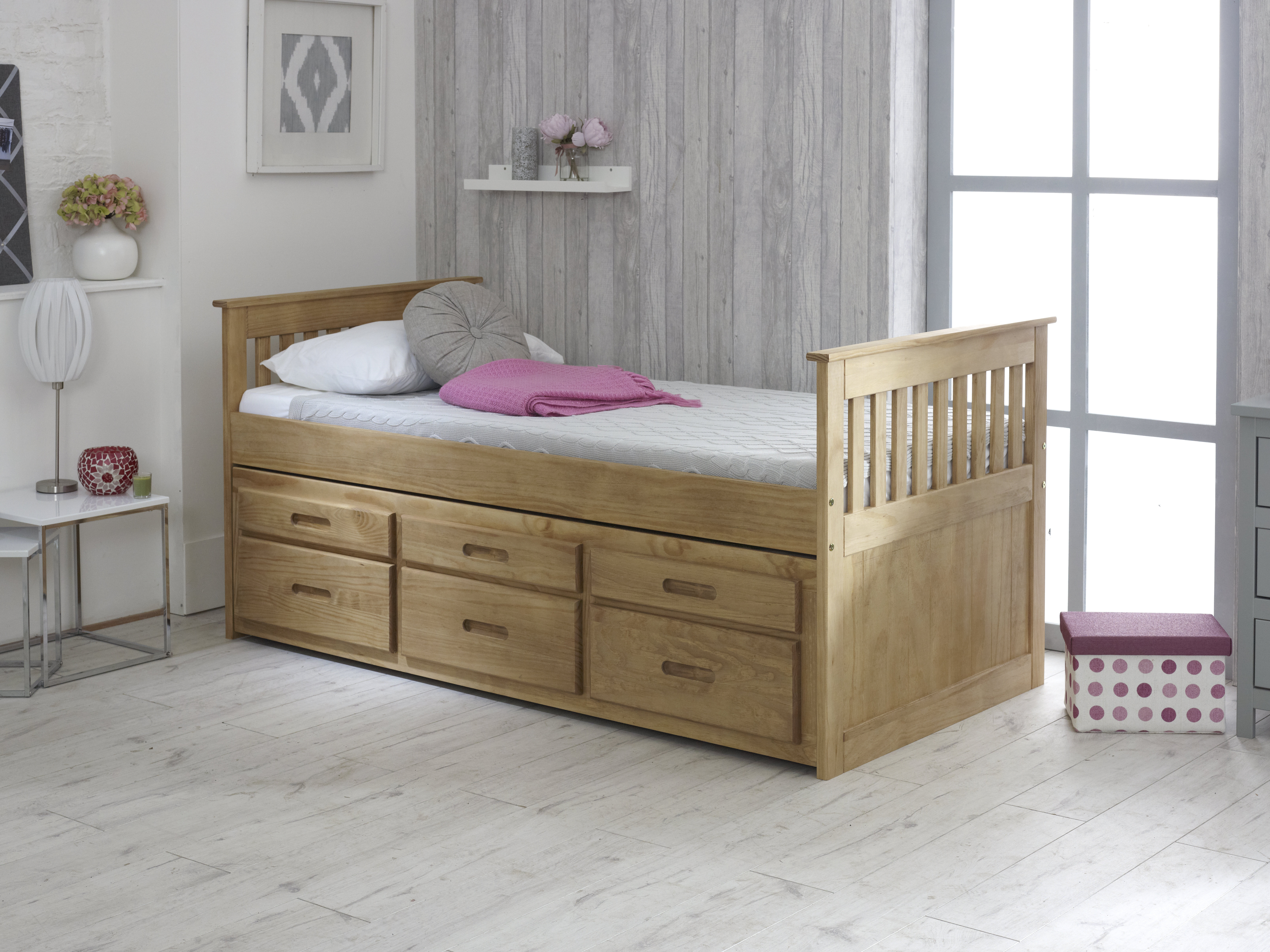 Picture of: Just Kids Captains Single Cabin Bed With Trundle And Drawers Reviews