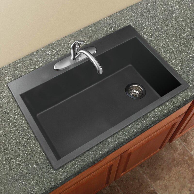 Radius 33 X 22 Granite Single Bowl Drop In Kitchen Sink